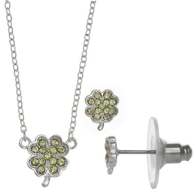 FAO Schwarz Shamrock Pendant Necklace & Stud Earring Set
