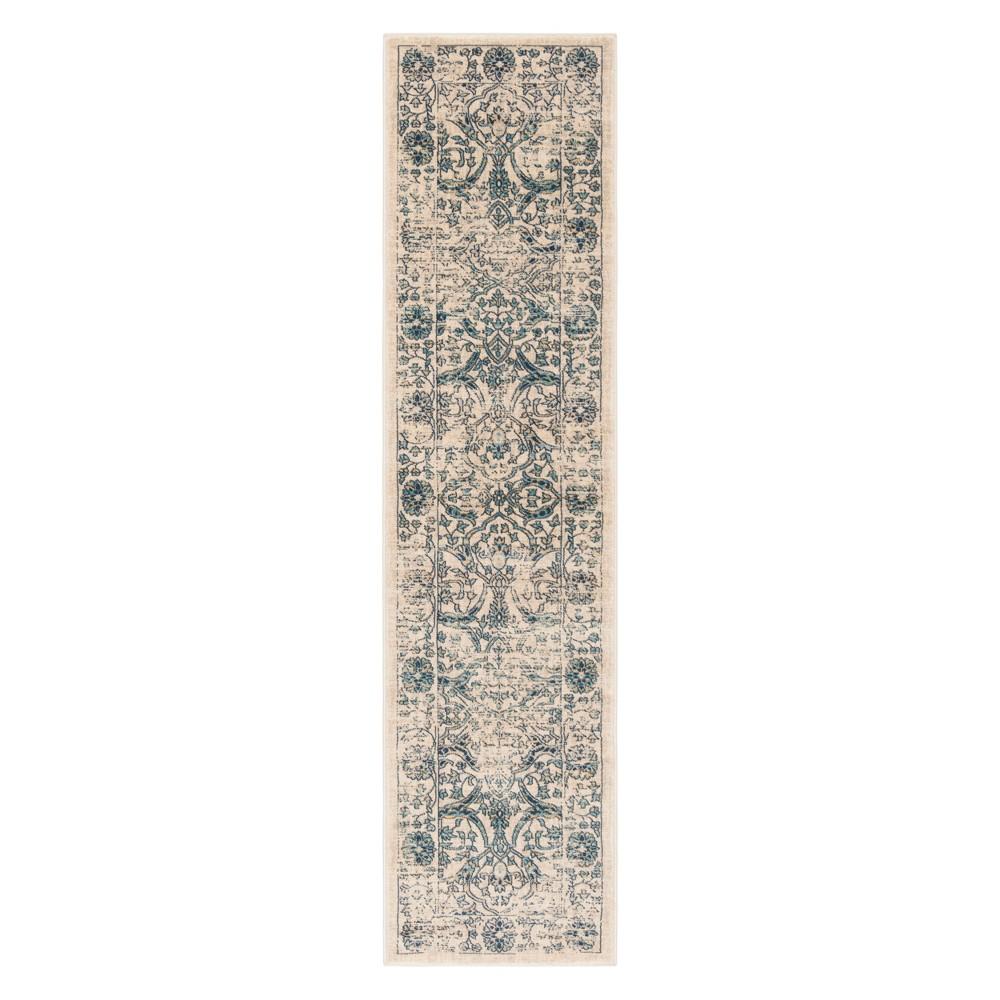 2'X6' Floral Runner Beige/Blue - Safavieh