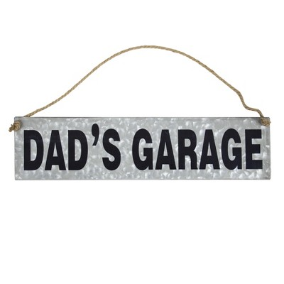 """11"""" x 20"""" Dad's Garage Galvanized Metal Vintage Hanging Wall Sign with Rope Gray - American Art Decor"""