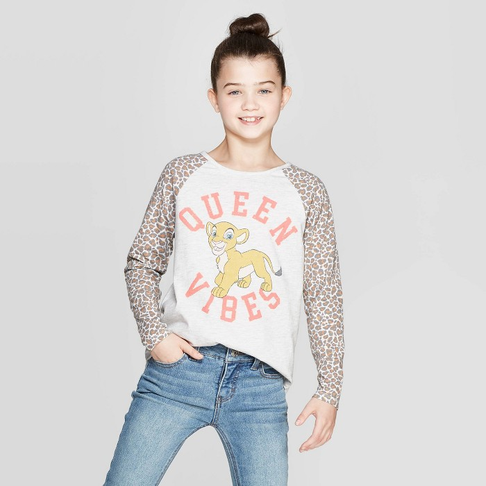 Girls' The Lion King Nala Queen Vibes Long Sleeve Raglan T-Shirt - Beige - image 1 of 3