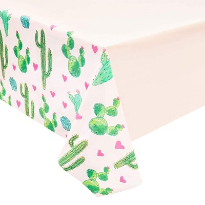 """Sparkle and Bash 3-Pack Pink Cactus Disposable Plastic Table Cover Tablecloth Party Supplies 54""""x108"""""""