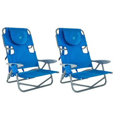 Ostrich On-Your-Back Outdoor Lounge 5 Position Reclining Beach Chair (2 Pack)
