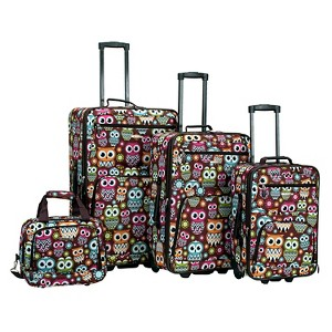 Rockland Jungle 4pc Luggage Set - Owl, Size: Small, MultiColored