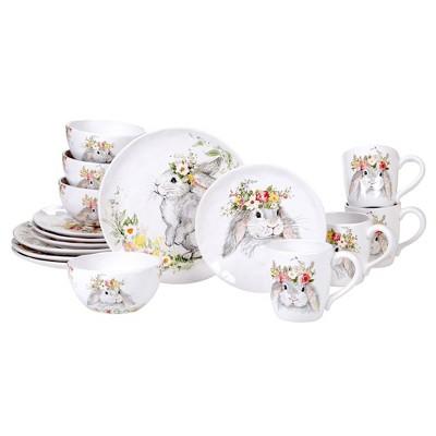 16pc Earthenware Sweet Bunny Dinnerware Set - Certified International