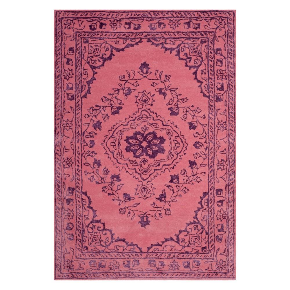 4'X6' Medallion Tufted Area Rug Pink - Safavieh