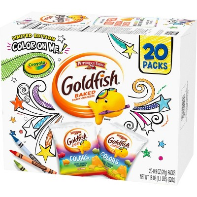 Pepperidge Farm Goldfish Special Edition Color on Me! Colors Cheddar Crackers, 20ct/18oz