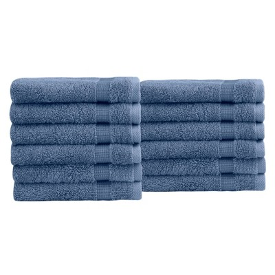 12pc Villa Washcloth Set Blue - Royal Turkish Towels