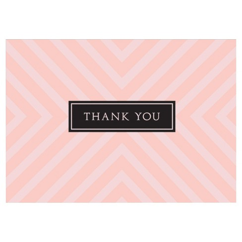 10ct Rose Quartz Stripes Contemporary Design Thank You Notecards - image 1 of 1