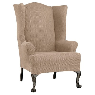 Stretch Twill Wing Chair Slipcover Taupe - Sure Fit