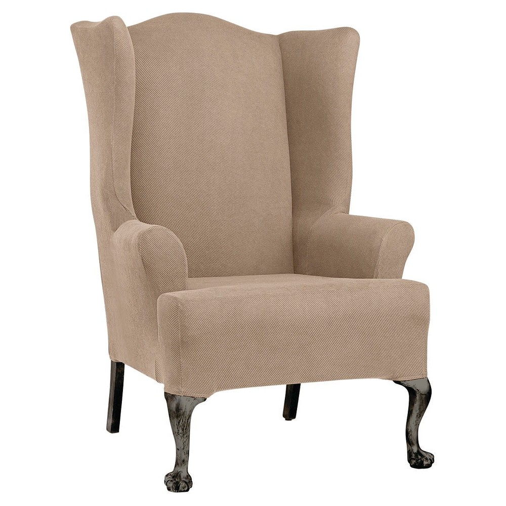 Image of Stretch Twill Wing Chair Slipcover Taupe - Sure Fit