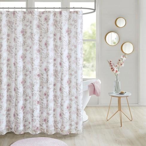 Rose Floral 3D Embellished Shower Curtain Blush