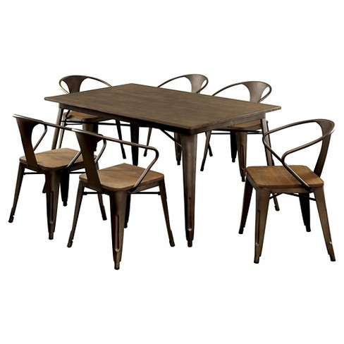 Sun & Pine 7pc Metal Frame Dining Table Set Metal/Natural Elm : Target