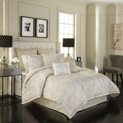 4pc King Medallion Pemberly Comforter Set Beige - Beautyrest