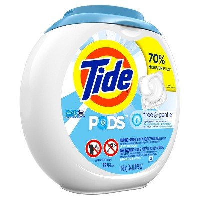 Tide PODS Laundry Detergent Pacs Free & Gentle - 72ct