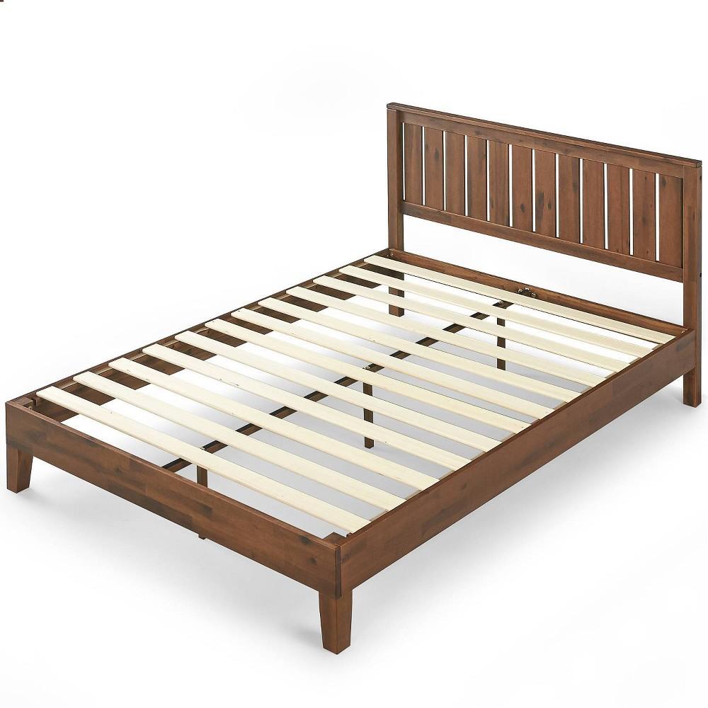 Full Vivek Deluxe Wood Platform Bed with Headboard Antique Wood - Zinus, Brown