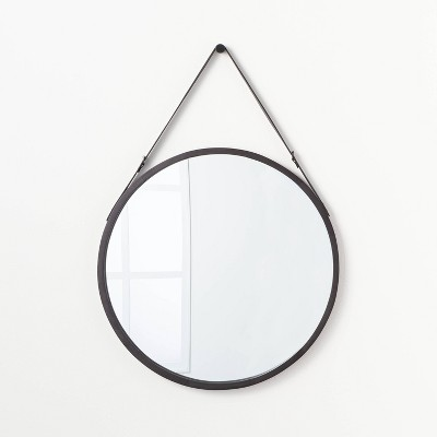 "26"" Wood Mirror with Pleather Strap Hanger Black - Threshold™ designed with Studio McGee"