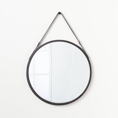 """26"""" Wood Mirror with Pleather Strap Hanger - Threshold™ designed with Studio McGee - image 1 of 3"""