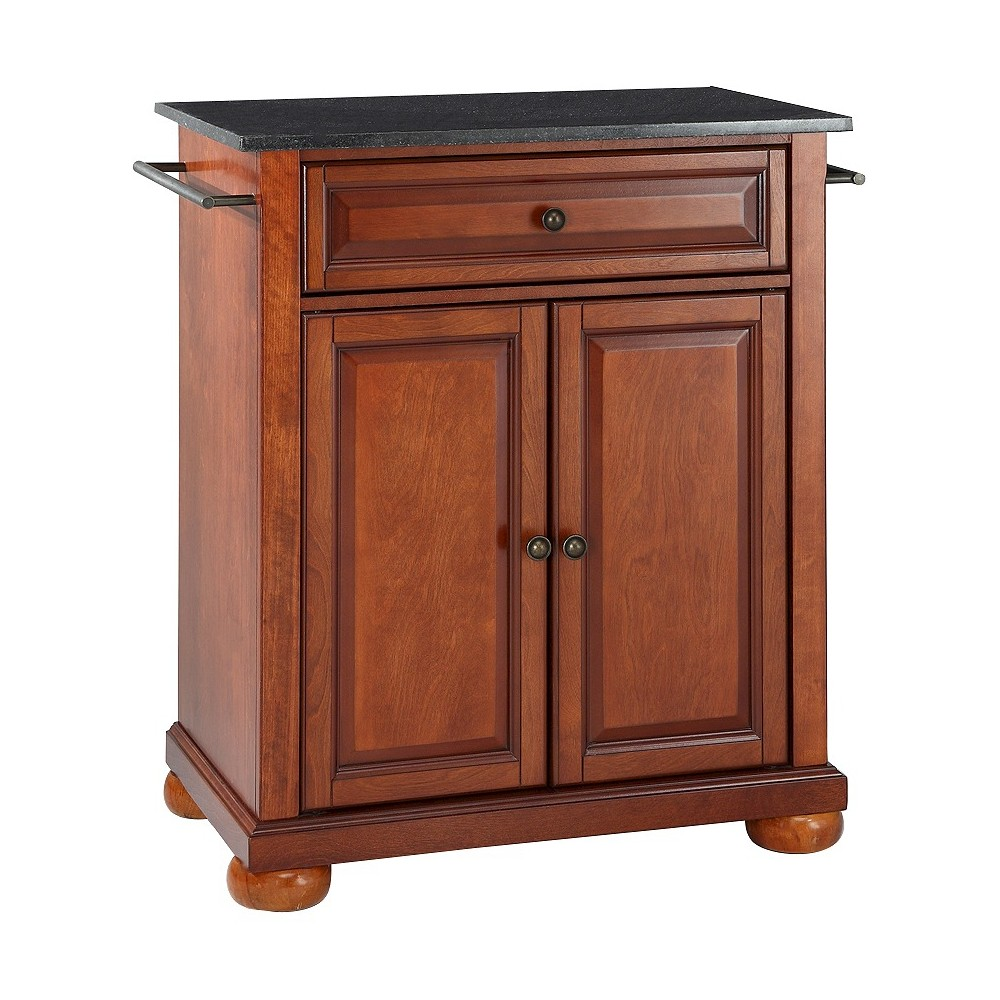 Alexandria Solid Black Granite Top Portable Kitchen Island Wood/Classic Cherry (Red) Finish - Crosley