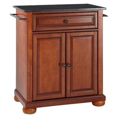 Bon Alexandria Solid Black Granite Top Portable Kitchen Island Wood/Classic  Cherry Finish   Crosley