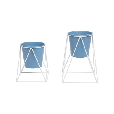 Set of 2 Blue Metal Pots and White Plant Stands - Foreside Home & Garden