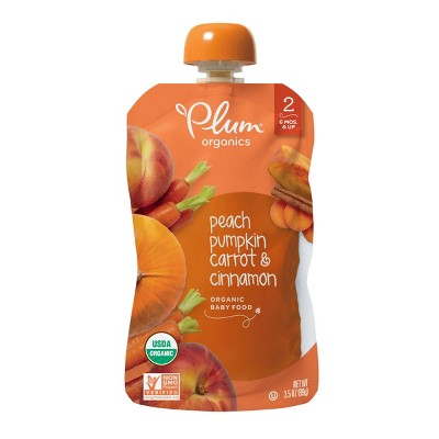 Plum Organics Peach Pumpkin Carrot & Cinnamon Baby Food Pouch - 3.5oz