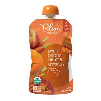 Plum Organics Stage 2 Organic Baby Food, Peach, Pumpkin, Carrot & Cinnamon - 3.5oz
