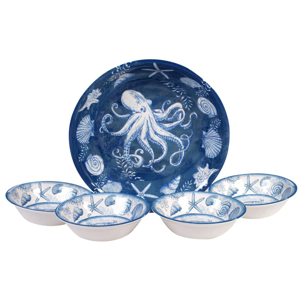 Image of 5pc Melamine Oceanic Salad Serving Set Blue - Certified International