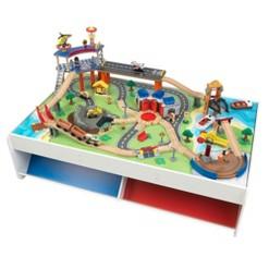 KidKraft 18012 Railway Express Kid Toddler Wooden 79 Piece Toy Train Set & Table