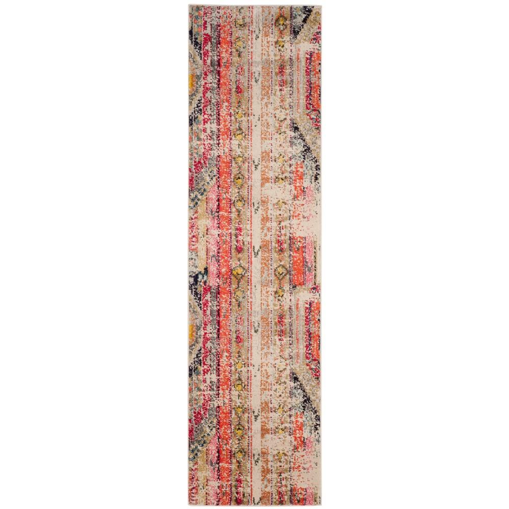 Loomed Tribal Design Runner Rug Light Gray