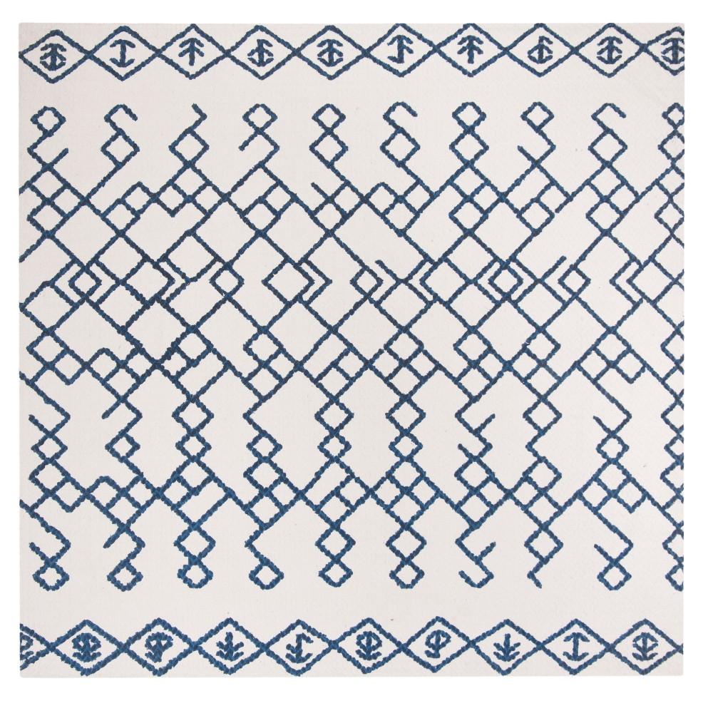 Ivory/Navy (Ivory/Blue) Geometric Loomed Square Area Rug 6'X6' - Safavieh