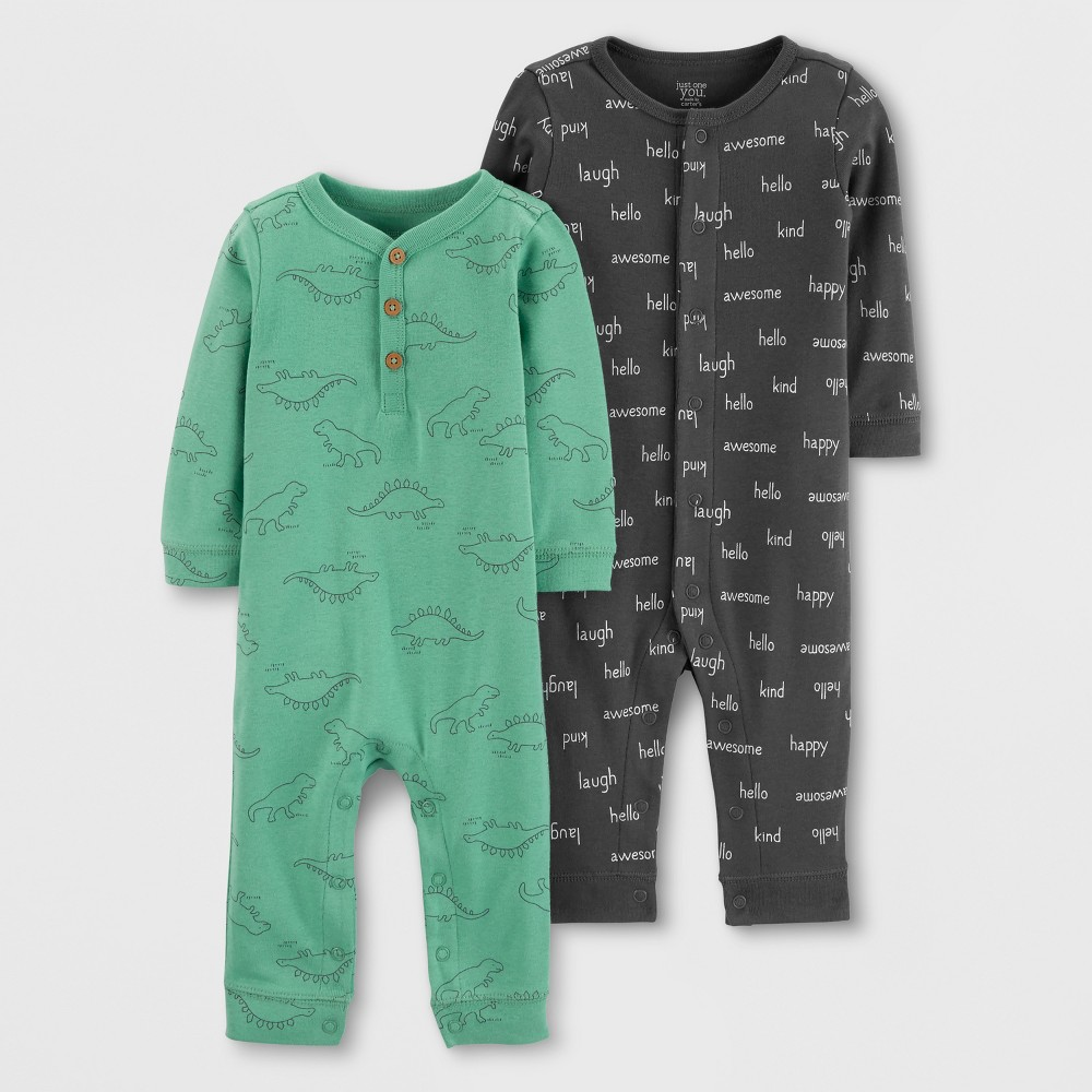 Baby Boys' 2pk Jumpsuits - Just One You made by carter's Green/Gray 6M