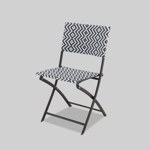 Incredible Woven Folding Patio Chair Black White Opalhouse Machost Co Dining Chair Design Ideas Machostcouk