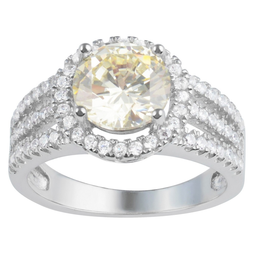 3 3/4 CT. T.W. Round-Cut CZ Basket Set Halo Fashion Ring in Sterling Silver - Yellow, 5, Girl's