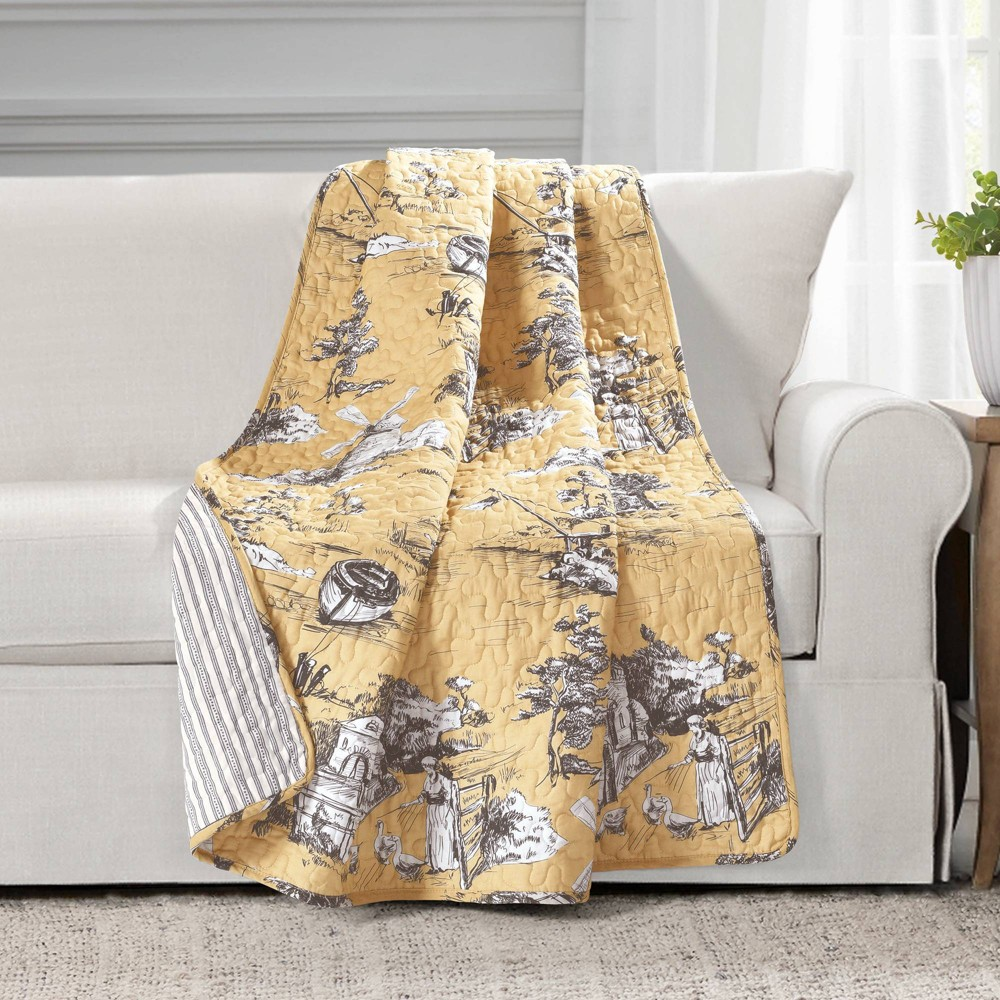 """Best 60""""x50"""" Single French Country Toile Cotton Reversible Throw Yellow/Gray - Lush Décor"""
