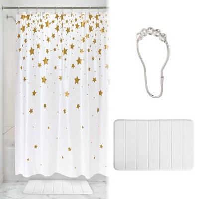Falling Star Shower Curtain with Memory Foam Mat and Ring Bundle White/Gold - iDESIGN