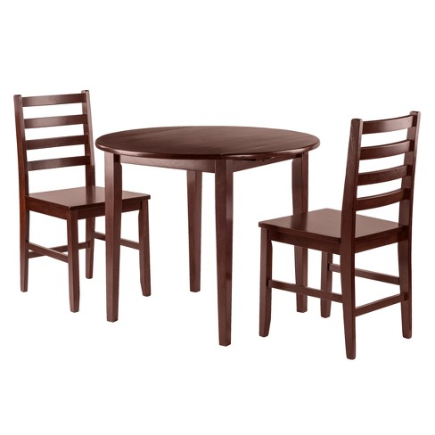 Clayton 3pc Set Drop Leaf Table with 2 Ladderback Chairs - Walnut - Winsome - image 1 of 3