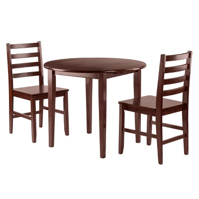 Clayton 3pc Set Drop Leaf Table With 2 Ladderback Chairs   Walnut   Winsome