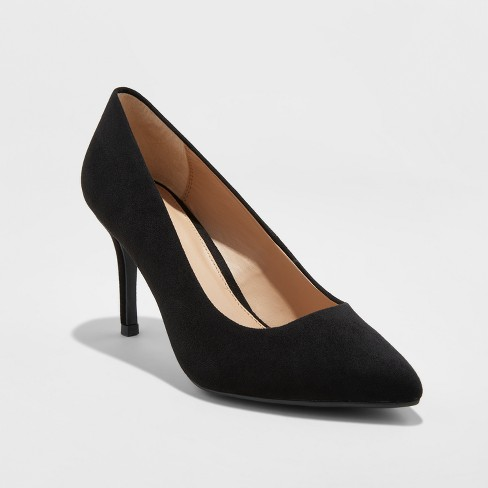 Women's Gemma Wide Width Pointed Toe Pumps - A New Day™ Black - image 1 of 3