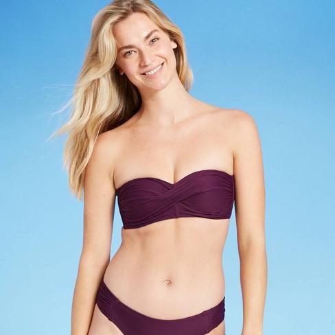 Women's Soft Ribbed Twist Bandeau Bikini Top - Kona Sol™ Burgundy - image 1 of 4