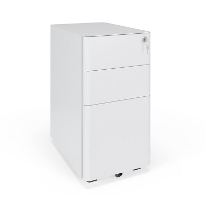 Basyx Slim Modern Mobile Metal Pedestal Filing Cabinet White - HON