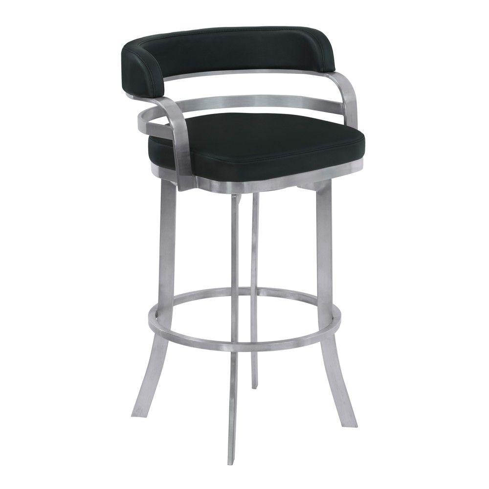 26 Prinz Counter Height Metal Swivel Barstool in Black Faux Leather with Brushed Stainless Steel Finish - Armen Living