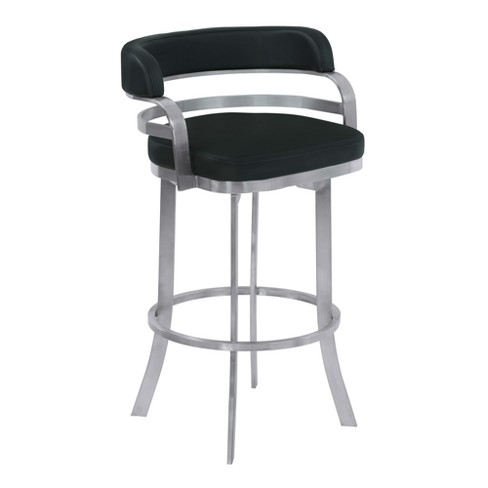 Admirable 30 Prinz Bar Height Metal Swivel Barstool In Black Faux Leather With Brushed Stainless Steel Finish Armen Living Pdpeps Interior Chair Design Pdpepsorg