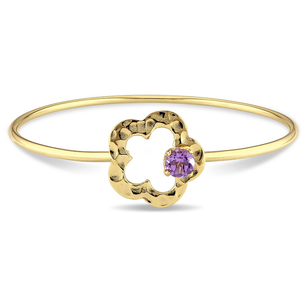 Image of .75 CT. T.W. Amethyst Floral Bangle Bracelet in Yellow Plated Sterling Silver - 8 Purple