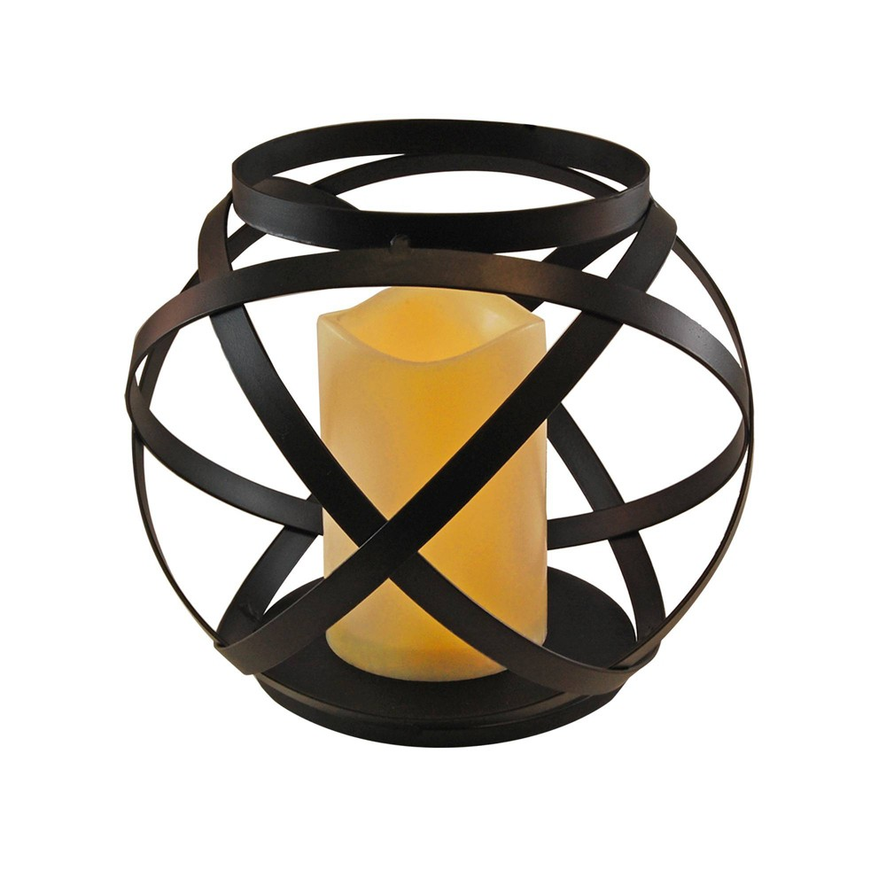 Image of Large Banded Metal LED Lantern With Battery Operated Candle Black - LumaBase