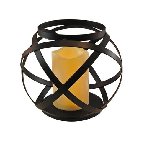 Large Banded Metal LED Lantern With Battery Operated Candle Black - LumaBase - image 1 of 4