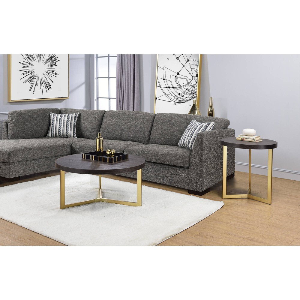 Melrose End Table Espresso Gold Picket House Furnishings