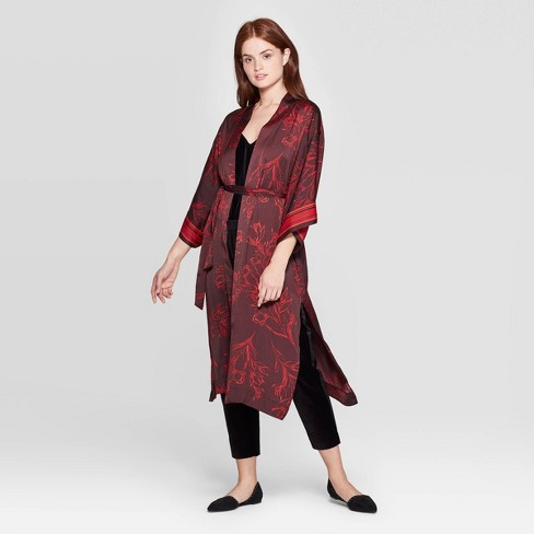 Women's Floral Print Kimono - A New Day™ Burgundy One Size - image 1 of 2
