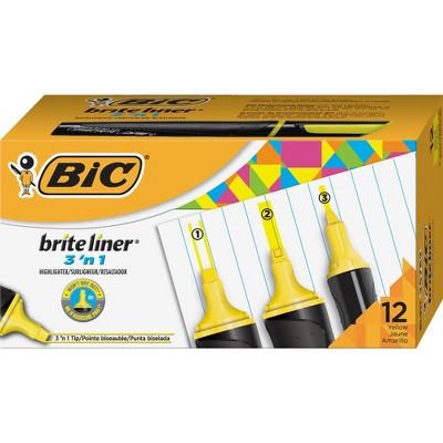 Bic Highlighter 3-in-1 Tip 12/DZ Yellow BL311YW