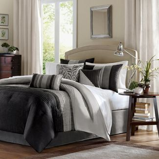 Salem Pleated Colorblock Comforter Set (Full) Black&Gray - 7pc