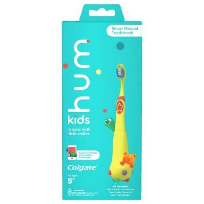 hum kids by Colgate Smart Manual Toothbrush Set with Free App & Brushing Games - Yellow - Extra Soft Bristles